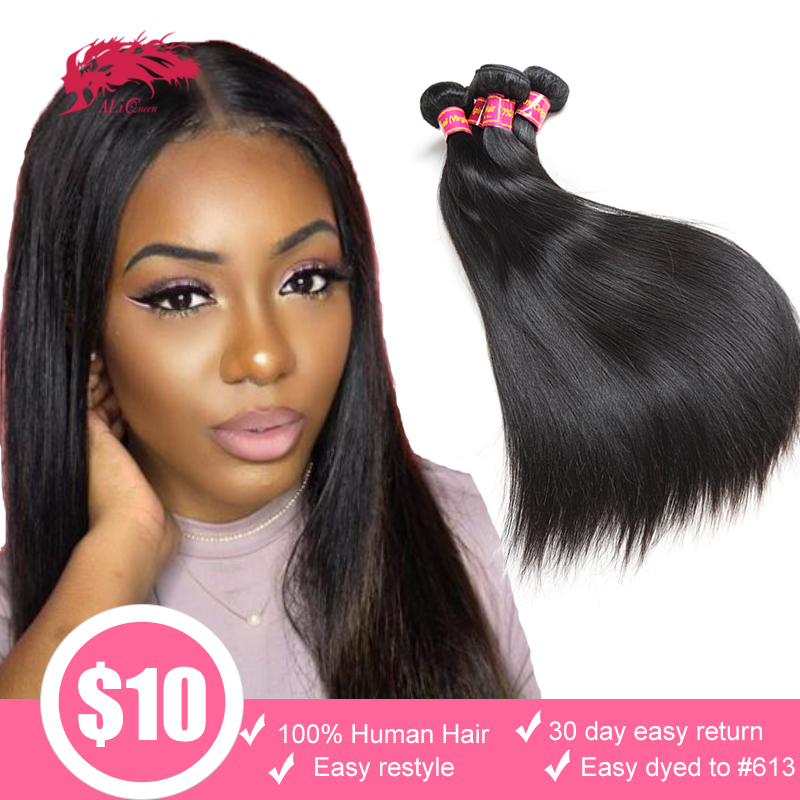 3/4/pcs Virgin Straight Hair Bundles Unprocessed Brazilian Human Hair Weaving Natural Color Ali Queen Hair Weave Bundles