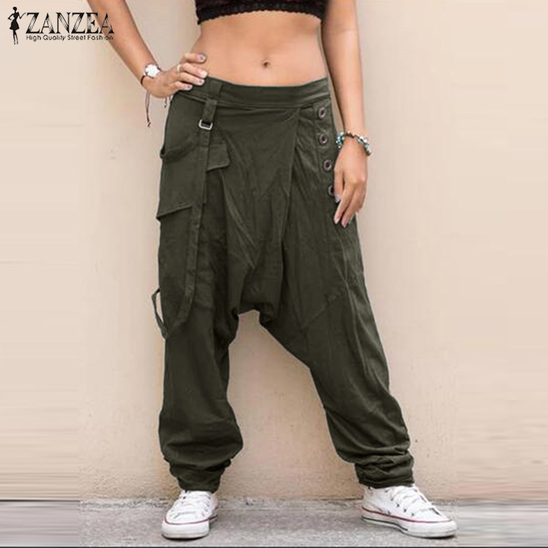 ZANZEA Women Elastic Waist Harem Pants Solid Wide Leg Trousers Female Drop Crotch Pants Loose Pantalon Plus Size Casual Pants