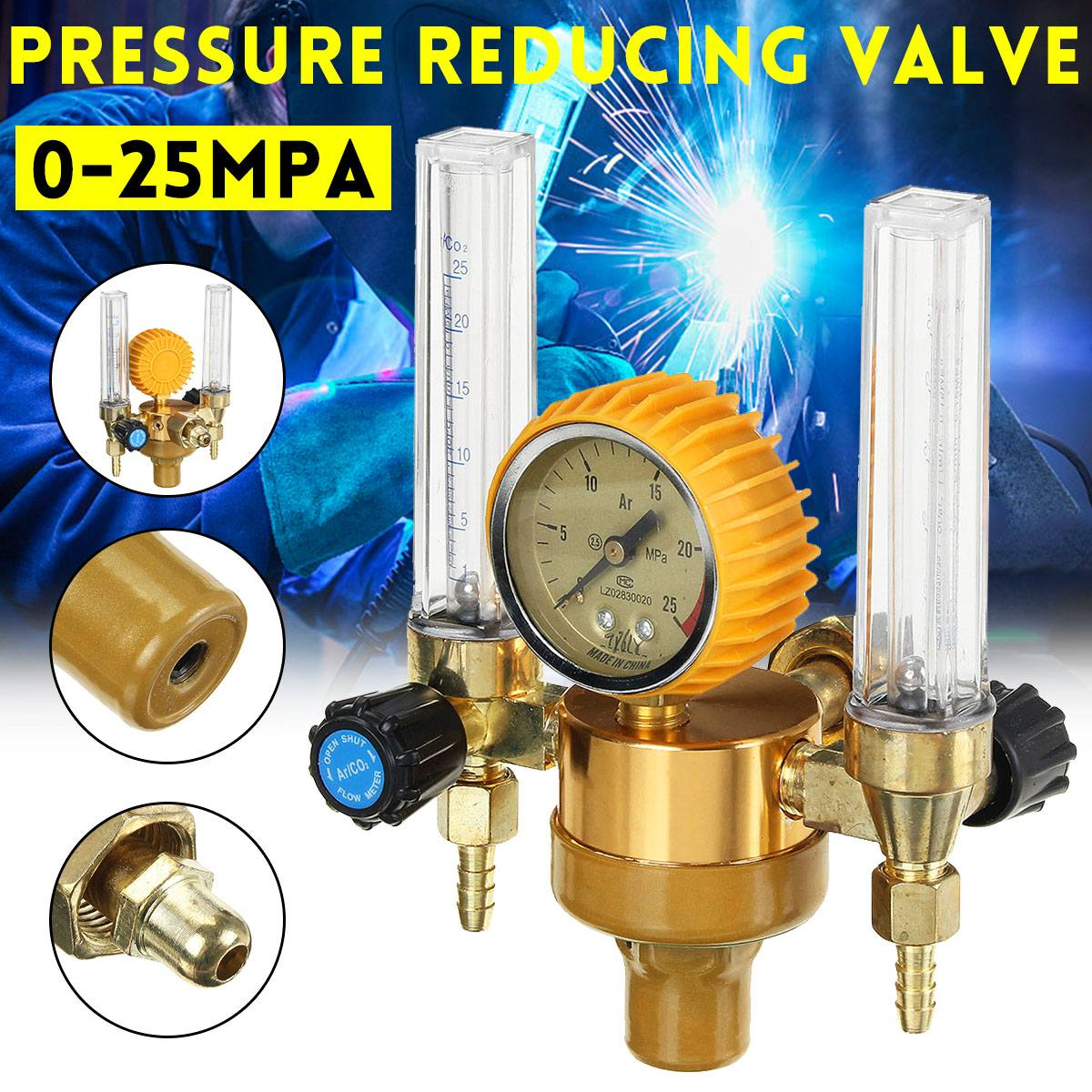 Pressure Value Argon Gas Regulator Reducer Double-tube Meter Flowmeter Argon Arc Welder Special Rressure Rreducing Air Valve