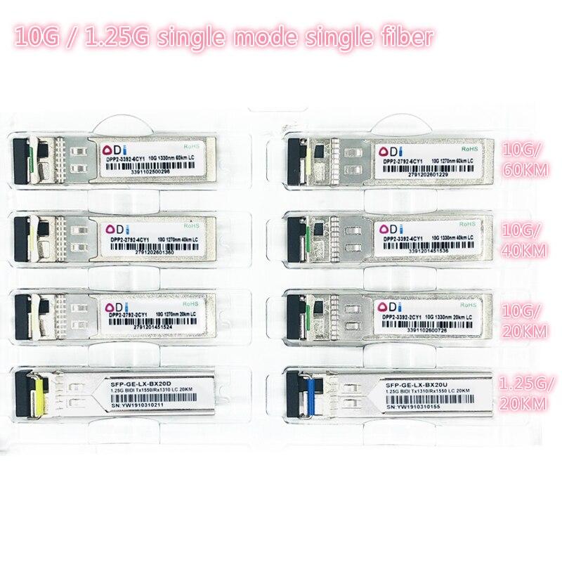 SFP 1.25G/10G LC 20/40/60KM 1270nm/1330nm Single Fiber SFP Optical Module Transceiver Industrial Grade -40-85 Celsius For Switch