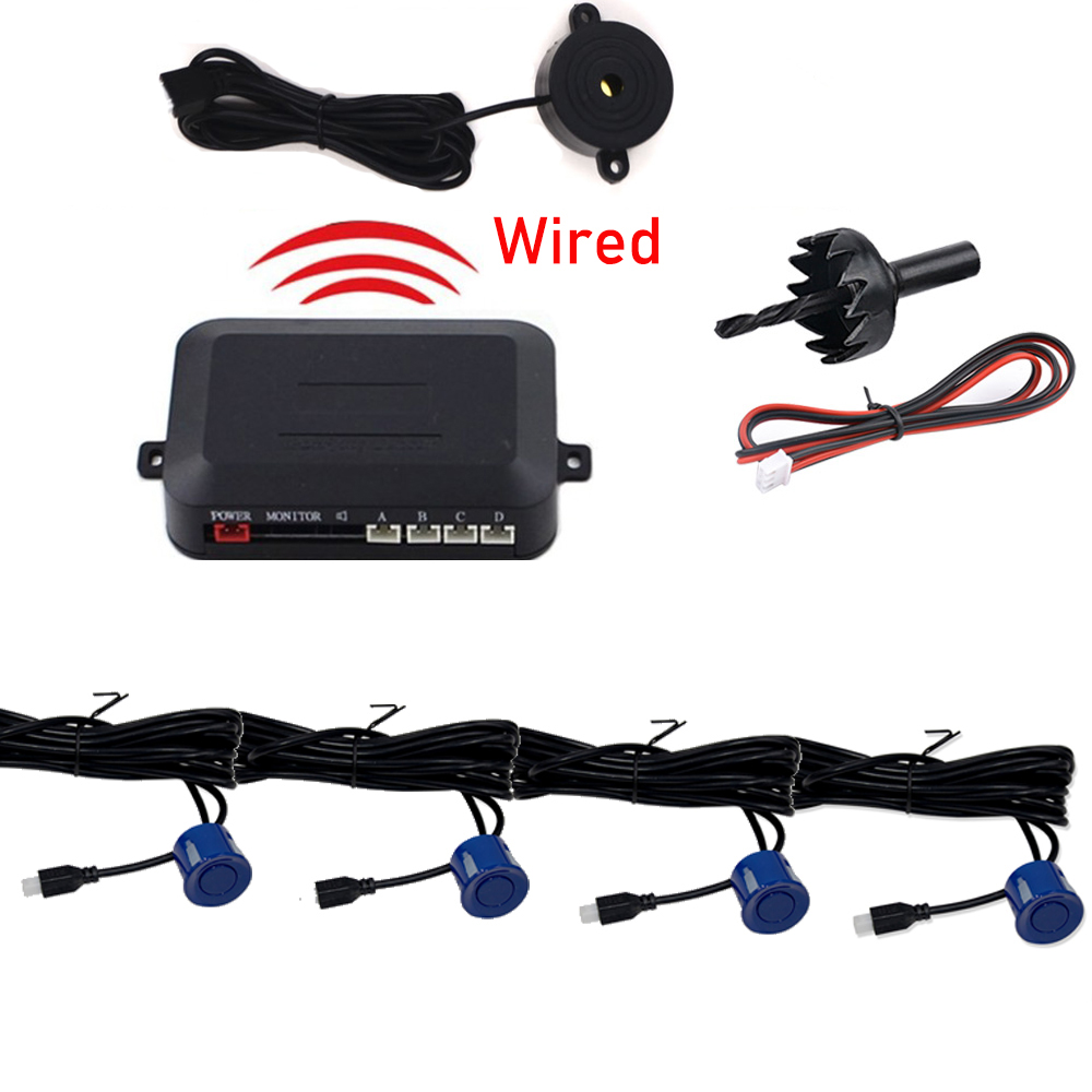 cheapest 2-4 Sensors Buzzer 22mm Car Parking Sensor Kit Reverse Backup Radar Sound Alert Indicator Probe System 12V