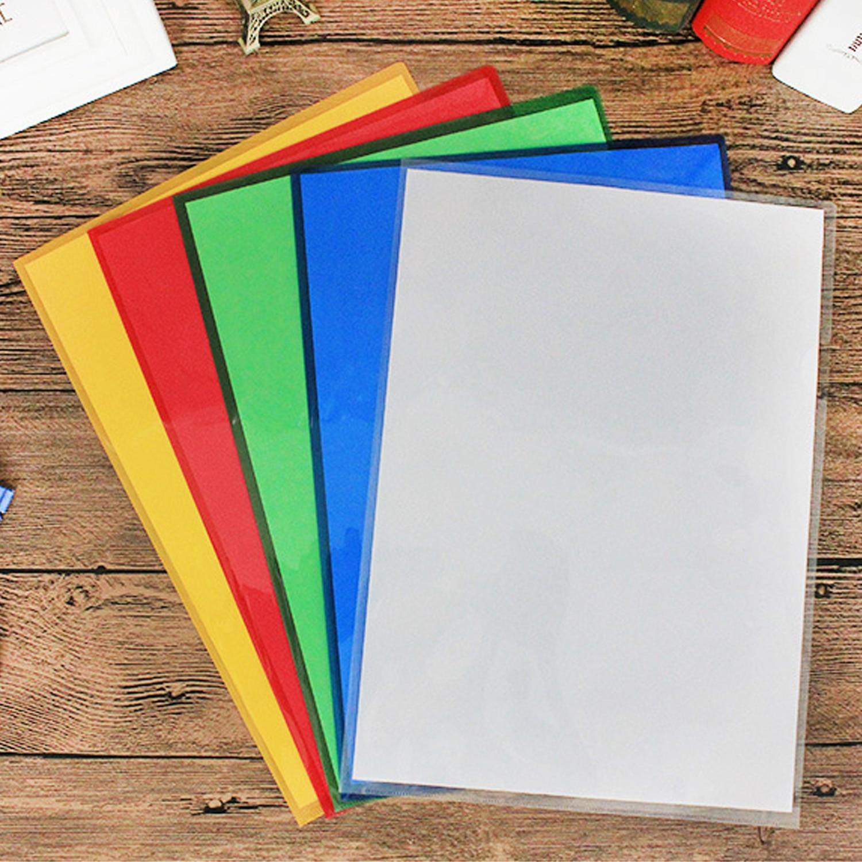 20PCS A4 Size L-Type Clear Transparent Plastic File Document Folders Safe Project Pocket Files Pouch Bag For Home School Office