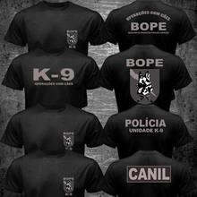 Novo brasil swat bope forças especiais polícia K-9 cão canino canil unidade camiseta 2 lado 2019 moda unisex t