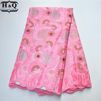 2020 Baby Pink African Lace Fabric High Quality Swiss Voile Lace Cotton Fabric With Stones Rhinestones 5 Yards For Women Dress