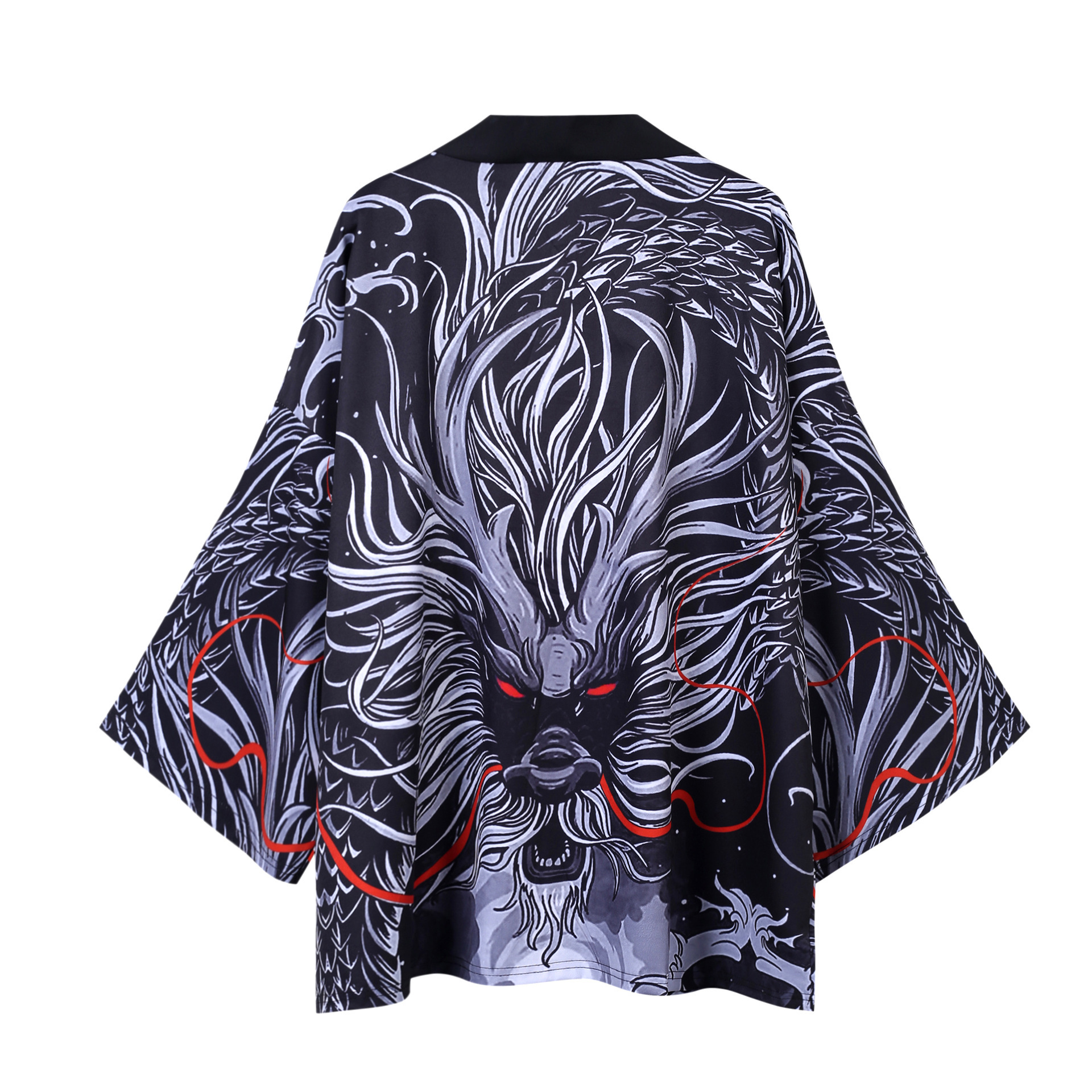 Japanese Ukiyo-e Print Robe Carp Kimono Traditional Loose Seven-point Sleeve Robe Shirt Thin Section Cardigan Sunscreen Yukata