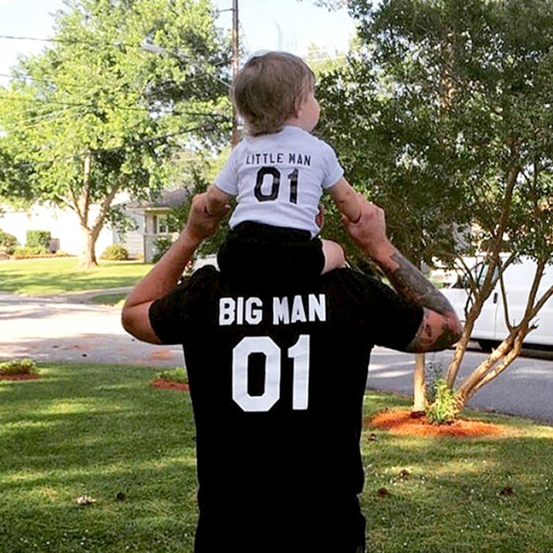 """Big Man"" ""Little Man"" Letter Print T-Shirt Parent Child Short Sleeve Family Matching T-Shirts Father Son Matching Tees Tops"