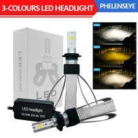 Three Color H4 H7 H11 9005 9006 LED Car Headlight Bulbs 80W 6000K 9600LM 12V 24V Auto Fog Front Headlamp 2PCS
