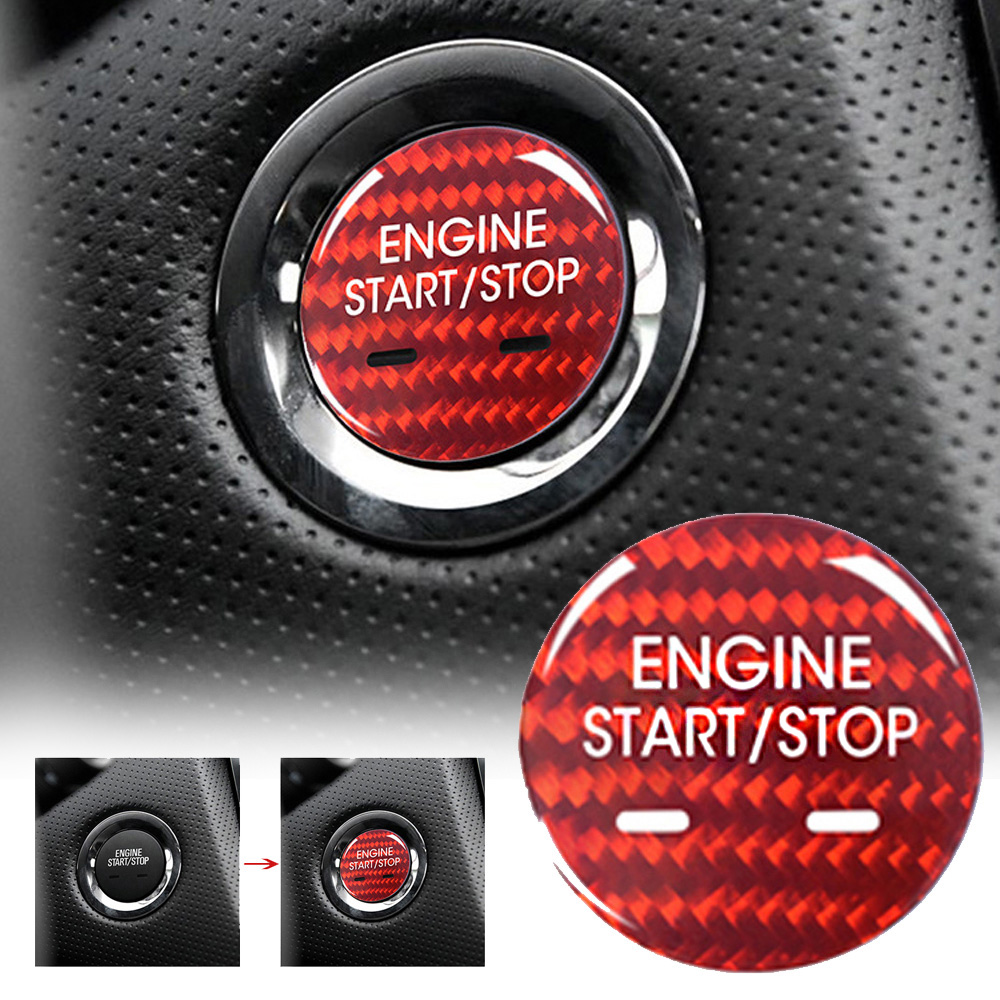 1pc red Car Engine Start stop Button Cover decor high quality Carbon Fiber auto interior Engine Button Cover for Cadillac XTS in Interior Mouldings from Automobiles Motorcycles