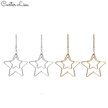 CARTER LISA Fashion Jewelry Woman Star Drop Earring Simple Cute Long Earrings Beautiful Girl Drop Earrings Metal Golden kolczyki fashion jewelry golden triangle small black white glass drop earrings woman gift