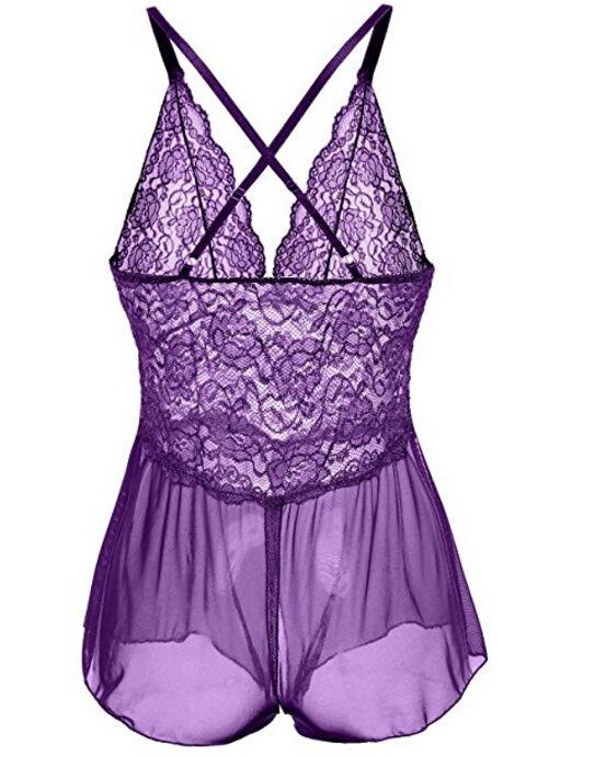 Women Ladies Sleeveless V Neck Sexy Lingerie Nightwear Lace Sleepwear Dress Babydoll Lace G-string