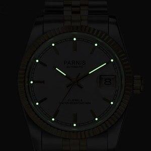 Image 3 - Парнис 36 мм Роскошные 5ATM золотого, черного или белого цвета, циферблат автоматические часы для мужчин унисекс сапфировое стекло Дата Лупа юбилейный браслет