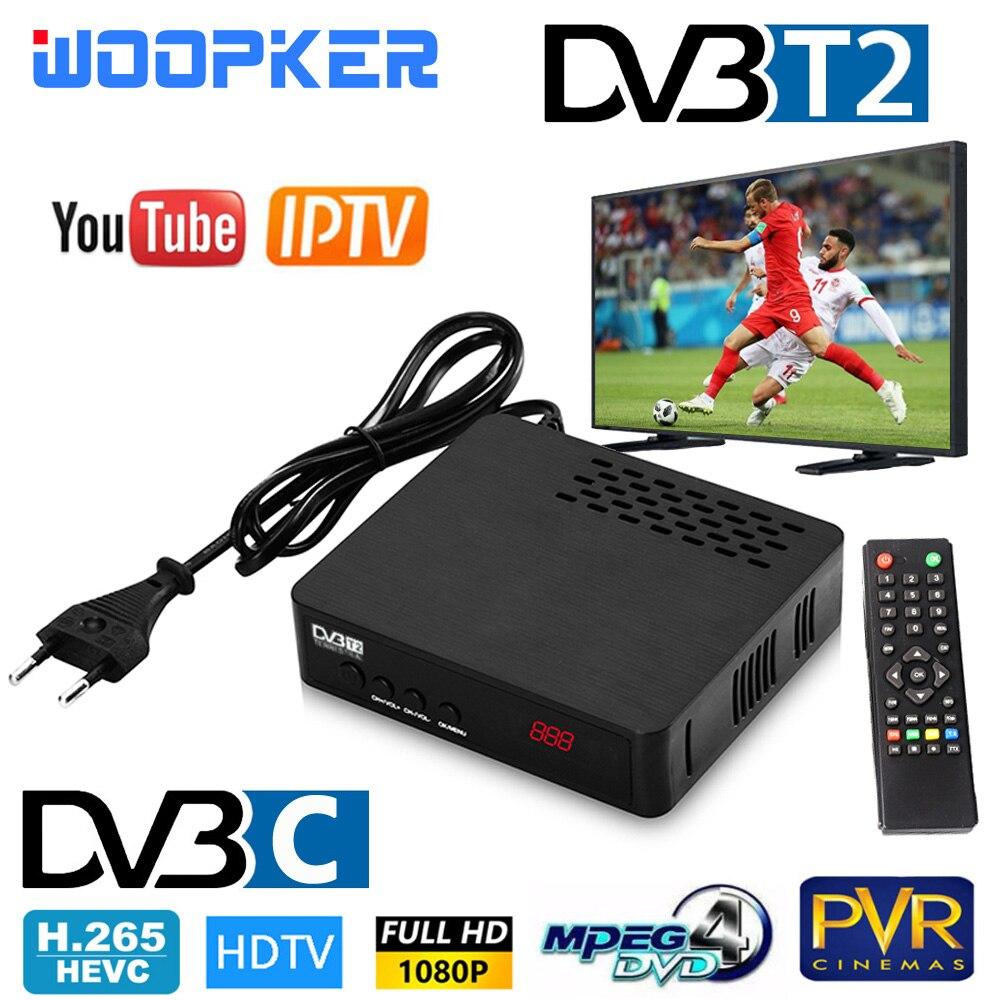 DVB-T2 DVB-C TV Receptor plenamente 1080P Receptor y sintonizador de televisión Digital DVB T2 H.265 terrestre decodificador WIFI TV caja de Europa