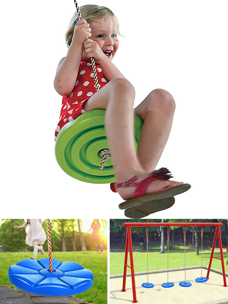 Swing-Set Zipline Outdoor Kids Slackers with Toys Flying Saucer Led Night-Riderz