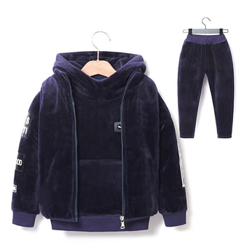 Brand Boys Warm Thicken Fleece Hoodies+Pants+Vest 3pcs Sets Girl Winter Sets Children Clothes Kids Casual Suits Christmas Outfit