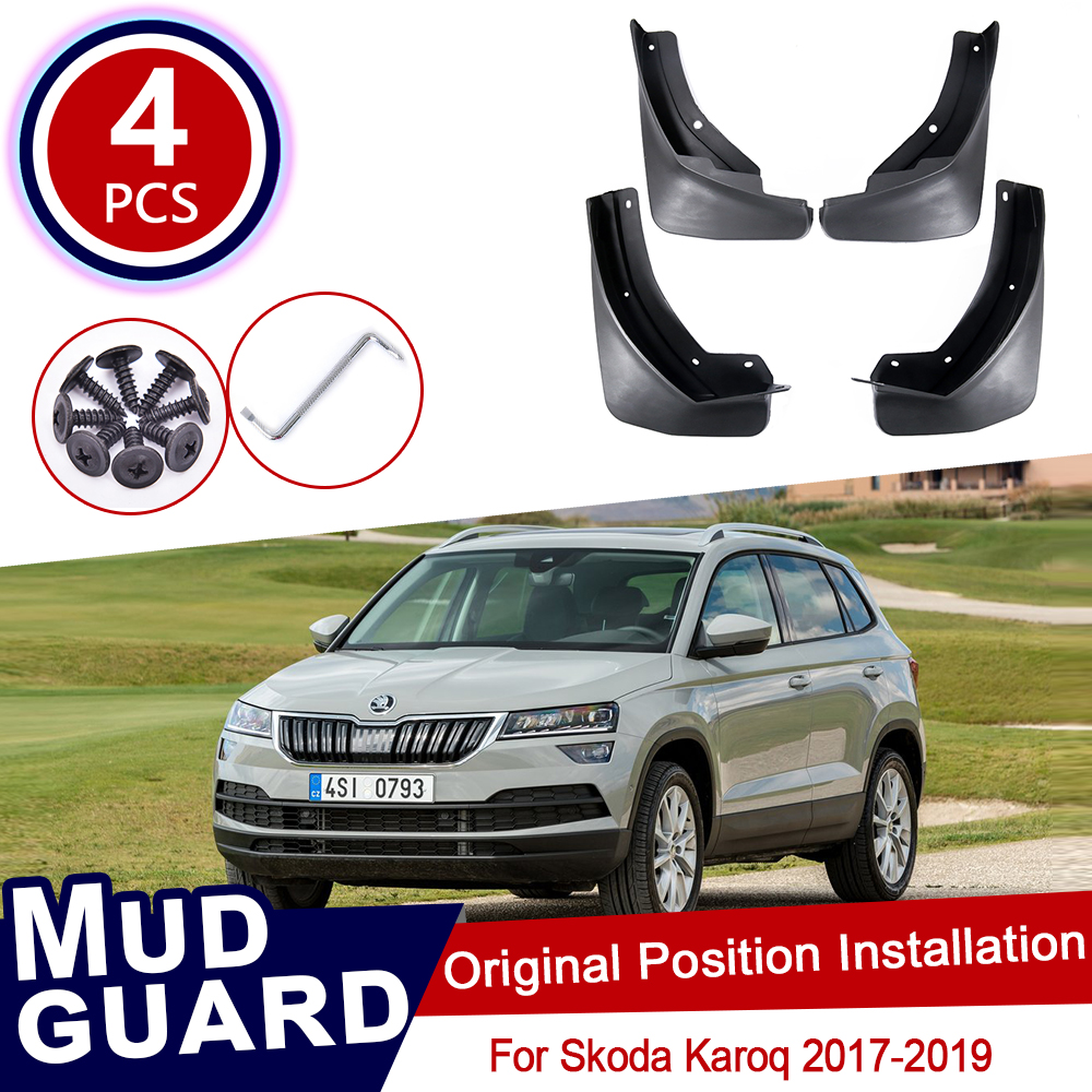 4pcs For Skoda Karoq 2017 2018 2019 Mudflaps Mud Flaps Flap Splash Guards Mudguards Car Wheel Fender Front Rear Car Accessories