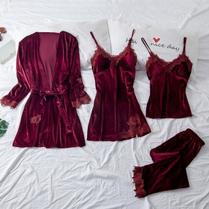 4PCS Woman Sleepwear Pajamas Suit Nighty&Robe Suit Sexy Intimate Lingerie Casual Bridal Wedding Gift Homewear Nightgown Woman