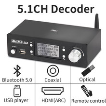 Hd920 5.1ch decodificador de áudio bluetooth 5.0 reciever dac dts ac3 dolby atmos 4k hdmi conversor compatível com placa de som spdif arc pcusb