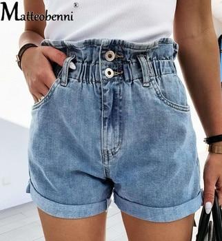 Fashion Denim Shorts Womens Blue Women Short Jeans Pockets Wide Leg Elastic Waist Vintage High Ruffle Summer