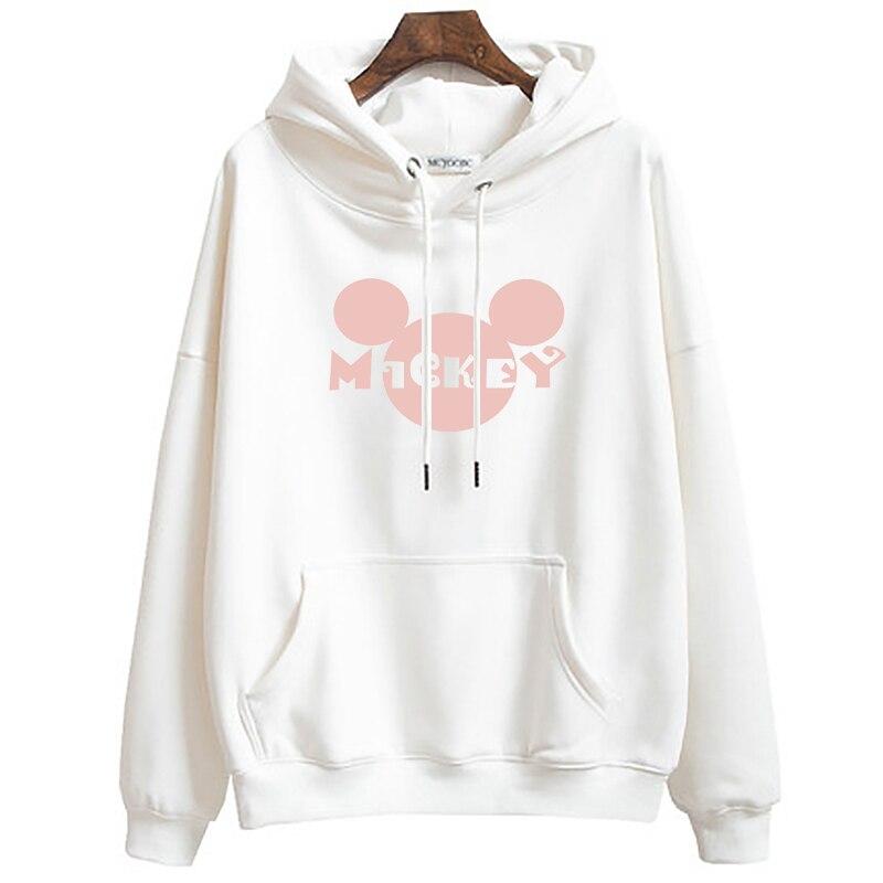 Plus Size Women Cartoon Hoodies Mickey Minnie Spring Autumn Thin Hooded Sweatshirt Long Sleeve Casual Loose Pullover Tops