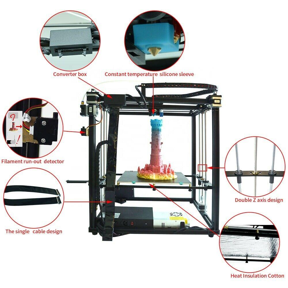 Купить с кэшбэком Quality Upgrade Full Metal 3d Printer X5SA 24V Power Supply CoreXY DIY Kits 24V Heat Table  300x300mm  Auto-level 3D Printing