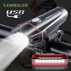 Newboler Xe Đạp Xe Đạp Bộ USB Sạc LED Chống Thấm Nước Siêu Sáng Đội Đầu Phía Sau Đèn MTB Xe Đạp