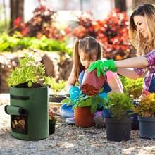 4/7/10 galões crescente sacos para vegetais, batata, cenoura, cebola cotainer jardim ferramentas de plantio potes de tecido
