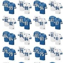 Сшитый логотип элитных мужчин Детройт s, 81# Джонсон, 20 Барри Сандерс, 9 Matthew Stafford, 94# Ezekiel Ansah синий белый Джерси