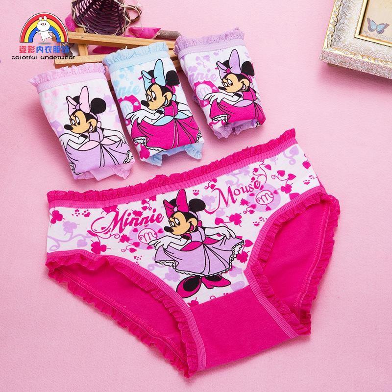 Girls Cartoon Briefs Modal Underwear Minnie Mouse Printing Panties Kids Brief Panties Soft Underpants Cute Florals Cutton Boxers