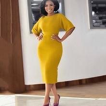Элегантное офисное женское платье, модное желтое с коротким рукавом размера плюс, облегающее, с высокой талией, простое, большой размер s, рабочая одежда, миди платье для женщин