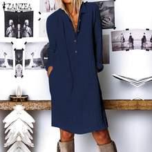 ZANZEA-Vestido camisero elegante con cuello de pico para mujer, vestido informal de manga larga hasta la rodilla, bata túnica con botones para mujer 2021