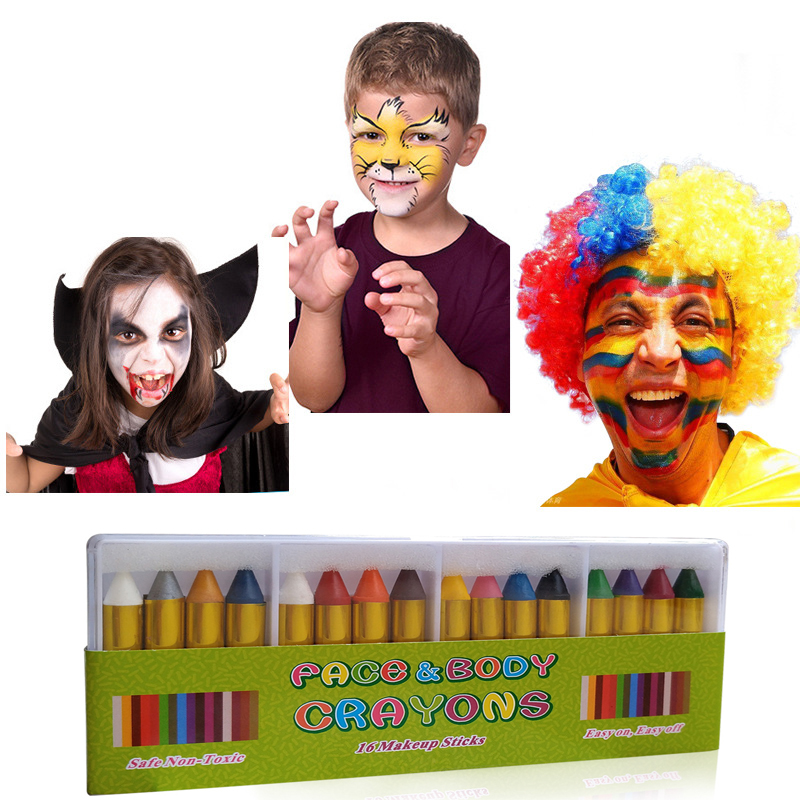 Children\'s Face Pastel Crayon Pen Kit Paint Clown Party Color Boys Devil Old Oil Bodys Girls Face Crayons Ghost Halloween Gift