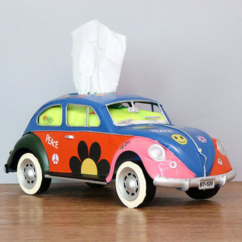 Flower Retro Iron Bus Tissue Box Model Figurines Car Craft Home Decoration Accessories for Living Room Ornaments for Home Decor 15