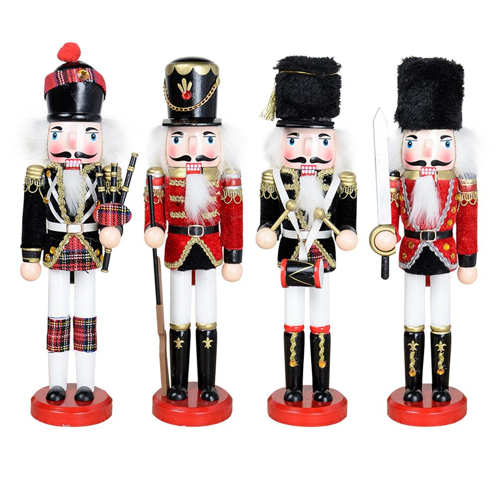Handmade Crafts 30CM Nutcracker Doll Soldier Shape Painted Puppets Decoration Pendant Christmas Tree Toy