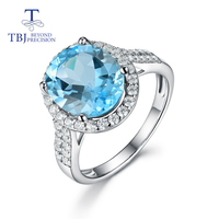 Sky blue topaz ring natural gemstone 925 sterling silver fine jewelry classic design for women tbj promotion 2020 new style