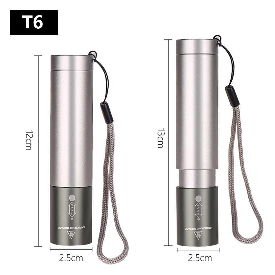 8000 lümen XM-L T6 taşınabilir şarj cihazı ledi el feneri torch 3 modu anahtarı zoom objektifi dahili şarj edilebilir pil kamp için