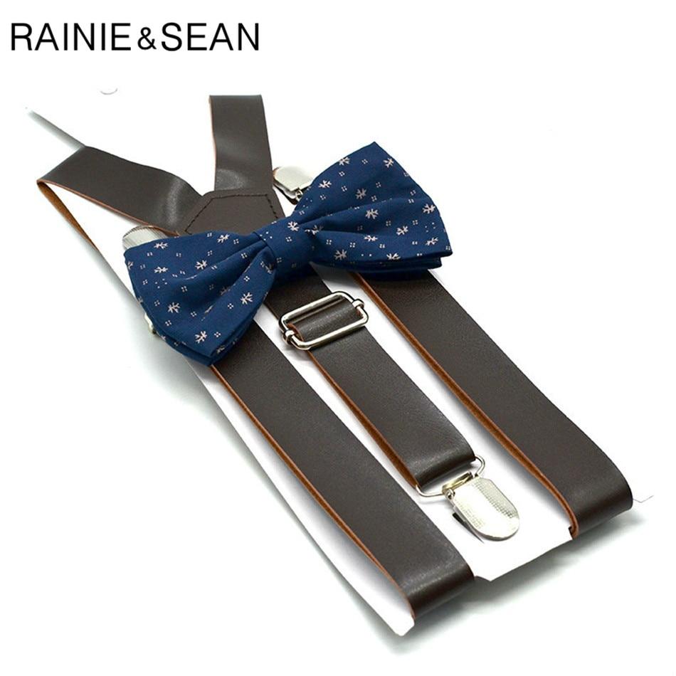 RAINIE SEAN Leather Suspender Pants Women Men Brown Suspenders With Bow Tie British Style Solid Unisex Y Back Pants Strap