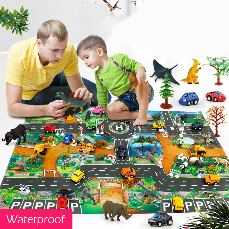 83x57 CM Large Dinosaur Jurassic World Scene Play Mat Simulation City Zoo Traffic Parking Scene Game Pad For Kids Learnning Toys