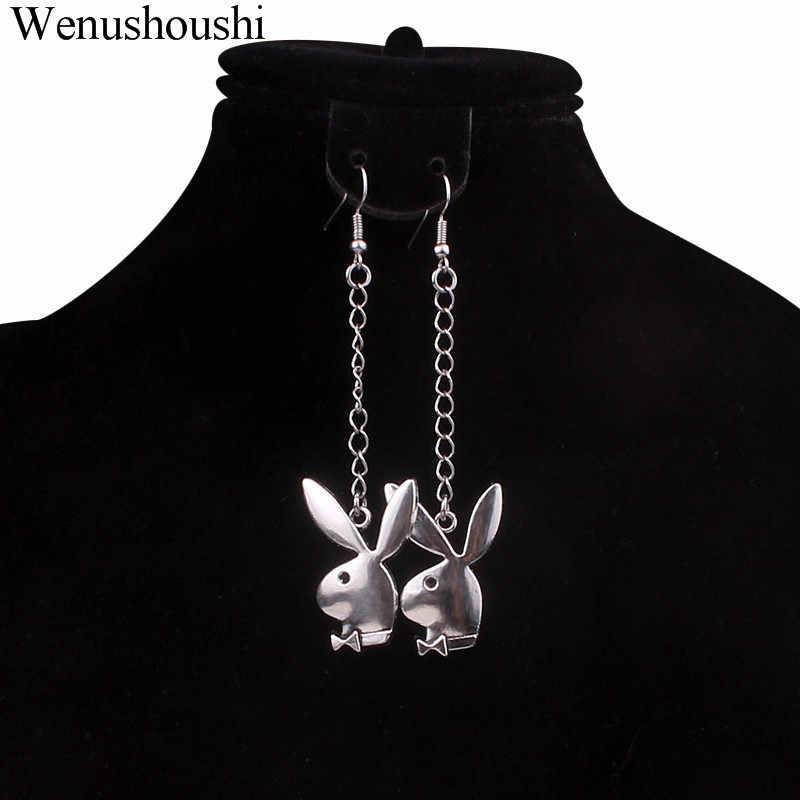 8cm nowy moda bunny ucha głowy łańcuch dangle kolczyki królik kolczyk party sukienka do klubu biżuteria akcesoria oświadczenie długie kolczyki