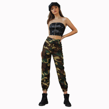 JYSS autumn streetwear army green camouflage cargo pants women side pocket pantalones mujer long slim trousers 30013