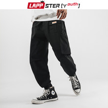 LAPPSTER-Youth Men Graphic Casual Cargo Pants 2020 Overalls Mens Japanese Streetwear Black Sweatpants Pockets Cotton Trousers(China)