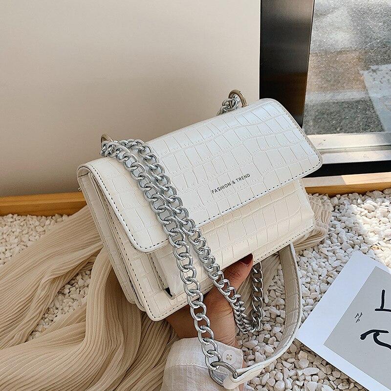 Stone Pattern Crossbody Bags For Women 2020 Small Chain Handbag Small Bag PU Leather Hand Bag Ladies Designer Fashion Bags White