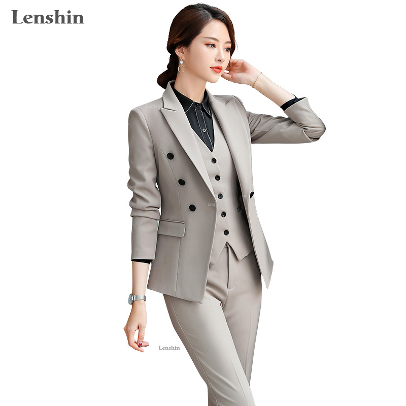 Lenshin High Quality 3 Piece Set Double-breasted Formal Pant Suit Blazer Office Lady Uniform Designs Women Slim Jacket And Pant