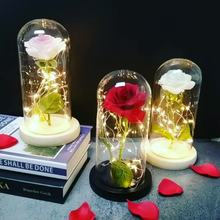 Night Light Light Bulb LED Flower Imitation Pink Home Luminaria Decoration Girl #8217 s Birthday Gift And New Year #8217 s Gift Multicolor cheap ZKVTWOO Atmosphere floral Beauty and the Beast Rose LED lighting 3 7V Dry Battery Glass HOLIDAY 0-5W SZVVI Cabeza de La flor