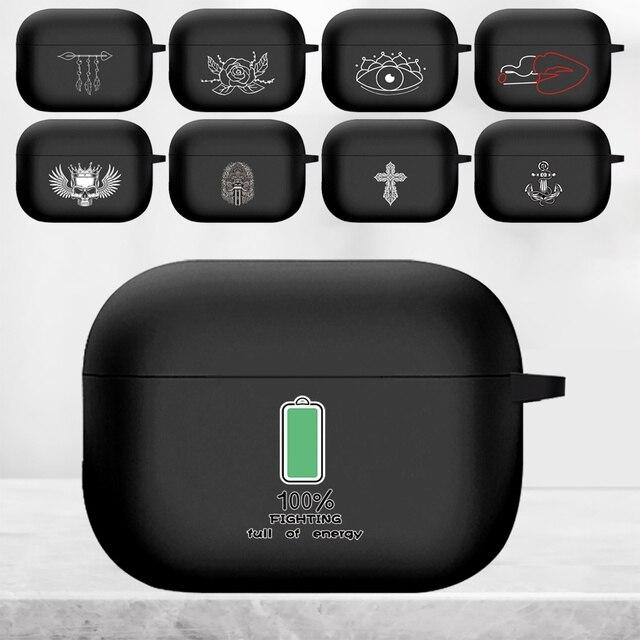 جراب AirPods Pro من السيليكون ، صورة بيضاء ، جراب سماعة أذن Apple AirPod S Pro A2084 A2083