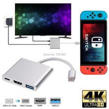 مصغرة المحمولة محول الفيديو ل نينتندو التبديل NS NX لعبة وحدة التحكم إلى التلفزيون محول HDMI USB3.0 ميناء نوع C التلفزيون قاعدة قاعدة لتثبيت الكمبيوتر المحمول