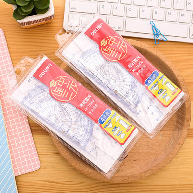 Deli 71950 Students Exam Ruler Sets Get The Three Highest Literary Degrees In Succession Four-piece Set Containing Ruler Set Squ