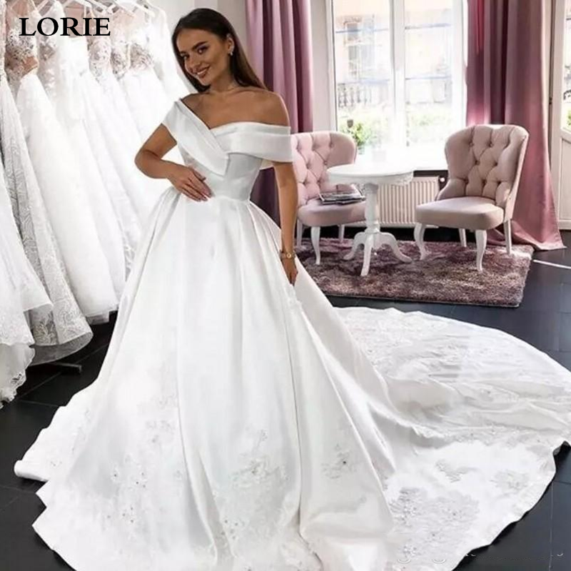 LORIE Princess Wedding Dress Ball Gowns Off The Shoulder Beaded Satin Bride Dress With Appliqued Lace Vestido De Novia