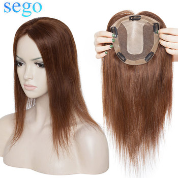 SEGO 15x16cm 10-22inch Straight Silk Base Human Hair Topper Hairpieces for Women 100% Natural Machine Made Remy Wig Toupee Hair