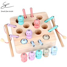 Baby Wooden Montessori Toys Digit Magnetic Games Fishing Toys Game Catch Worm Educational Puzzle Toys For Children  Gifts