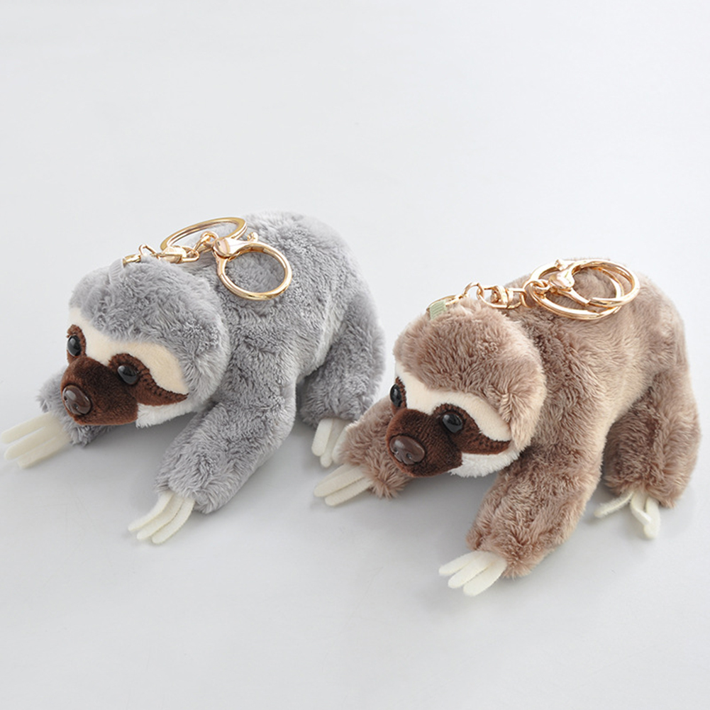 12cm Cute Lying Sloth Plush Bag Pendant Kawaii Animal Plush Toys Kids Children Lovely Doll Key Chains Girl Backpack Accessories